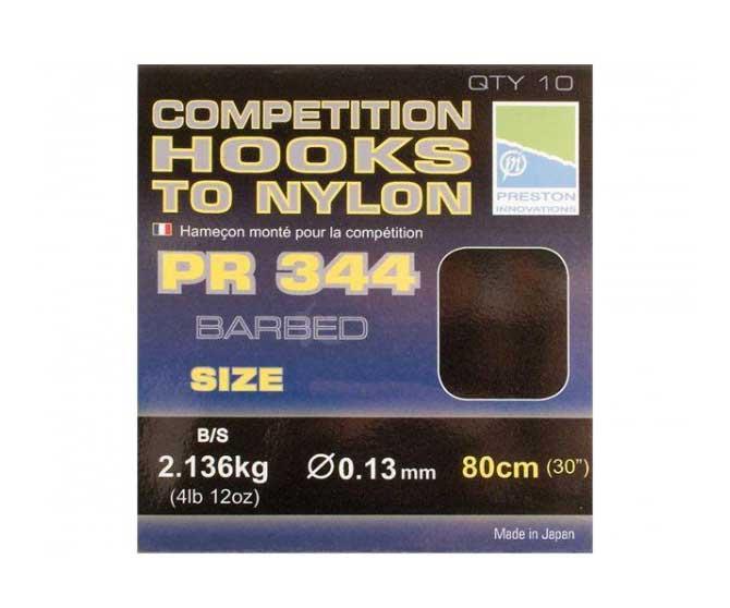 Готовые поводки Preston Competition 344, 0.13 мм 80 см №10