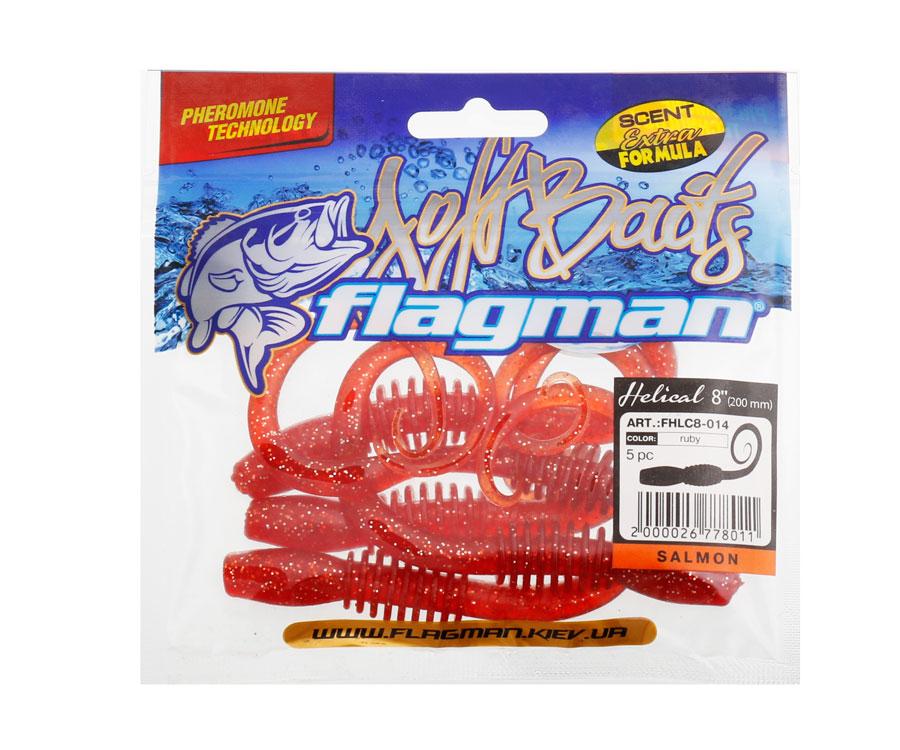 "Червь Flagman Helical 8"" salmon ruby"