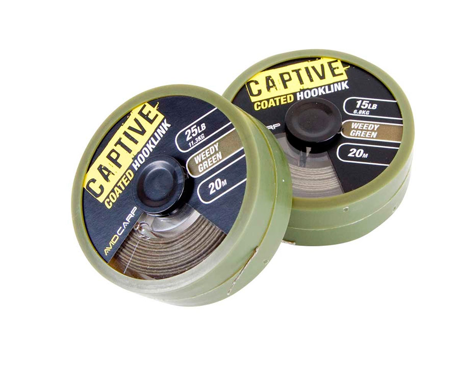 Поводковый материал Avid Carp Captive Coated Hooklink Weedy Green 35 lb
