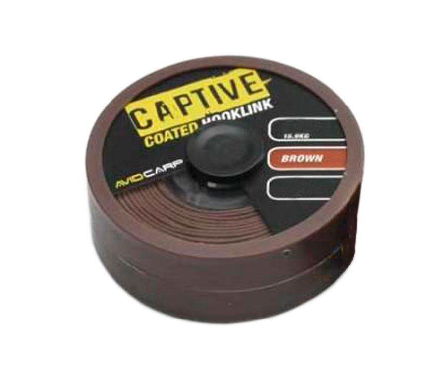 Поводковый материал Avid Carp Captive Coated Hooklink Brown 15 lb