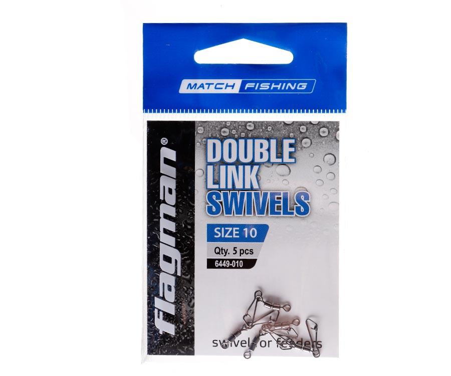 Фидерный двойной вертлюжок Flagman Double Link Swivels № 10, 5 шт