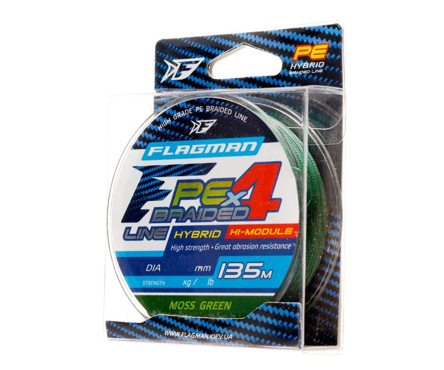 Шнур Flagman PE Hybrid F4 MossGreen 135м 0.14мм