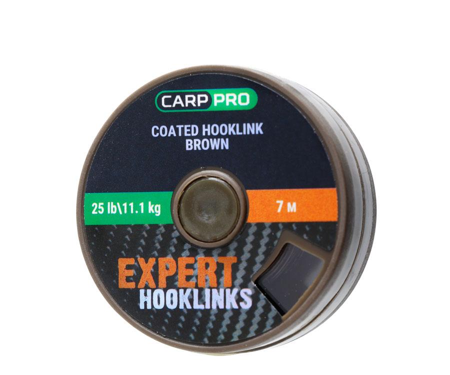 Поводковый материал в оплётке Carp Pro 25 lb 7 м коричневый