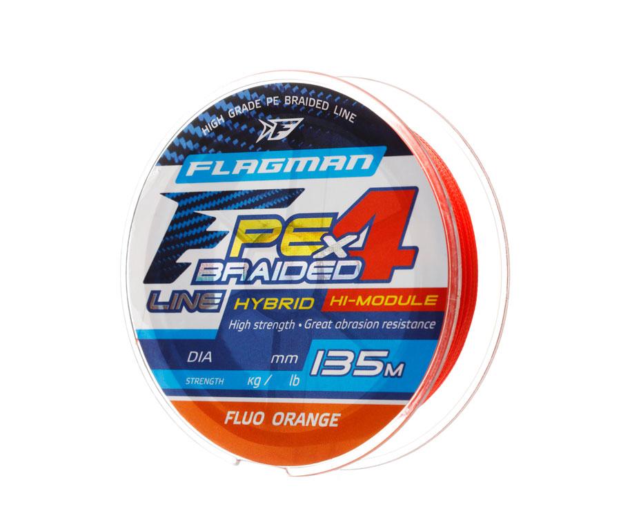 Шнур Flagman PE Hybrid F4 FluoOrange 135м 0.08мм