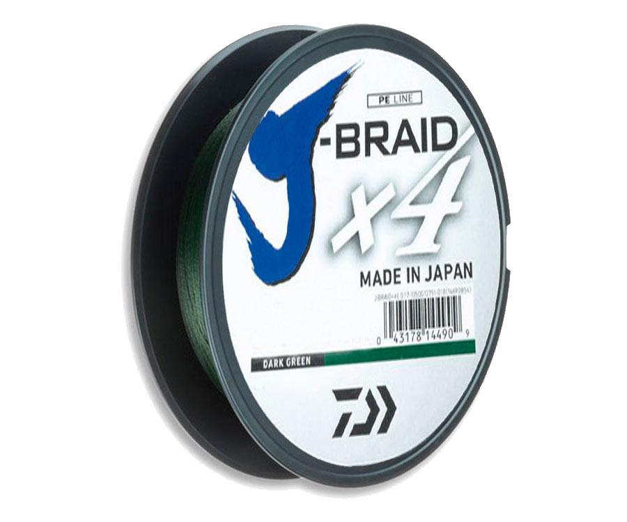 Шнур Daiwa J-Braid x4 0,19мм 10,2кг Dark Green 135м
