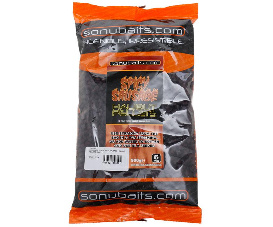 Пеллетс Sonubaits Spicy Sausage Halibut Pellets 6 мм