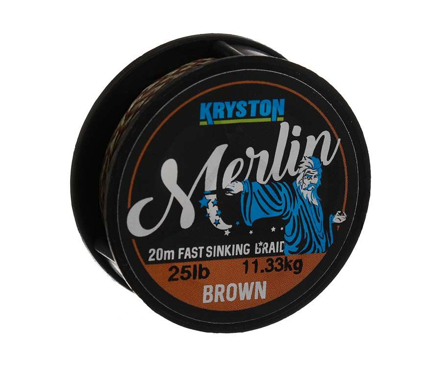 Поводковый материал Kryston Merlin Fast Sinking Supple Braid 25 lb Brown