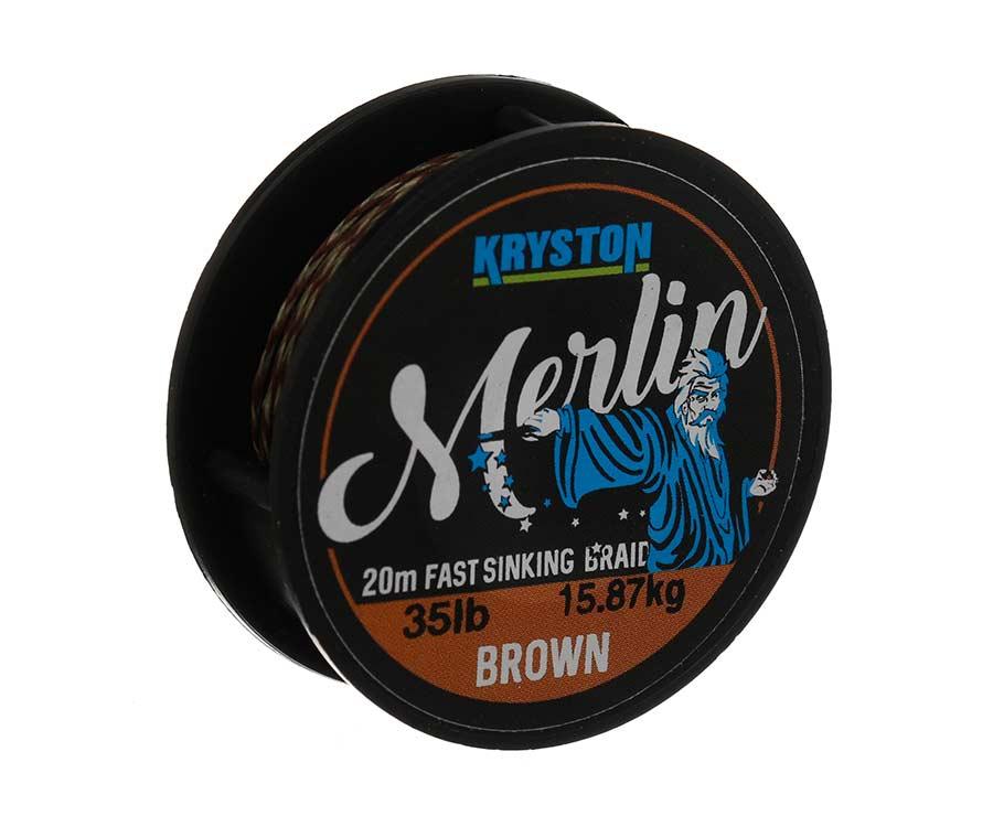 Поводковый материал Kryston Merlin Fast Sinking Supple Braid 35 lb Brown