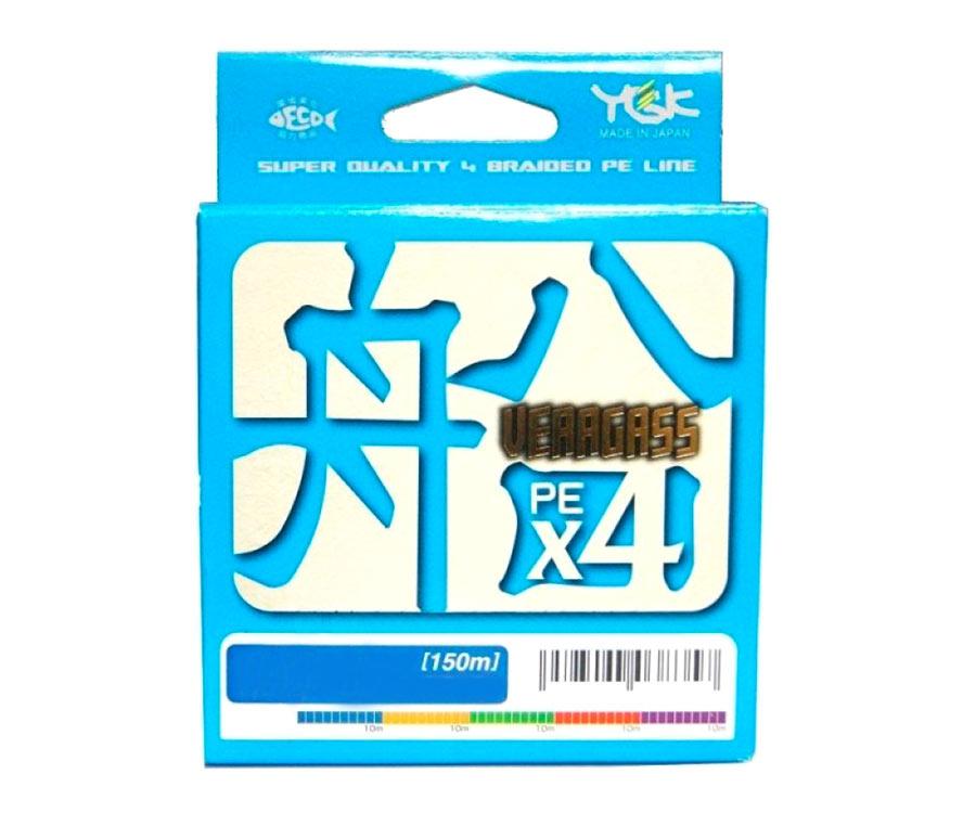 Шнур плетеный YGK  Veragass PEx4 150м #0.8 14lb