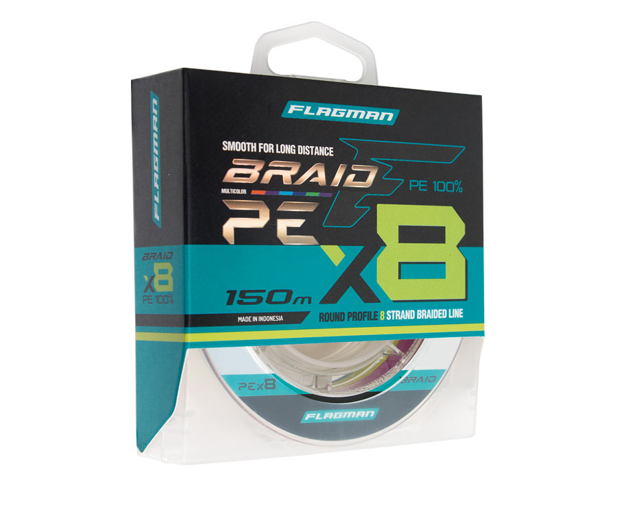 Шнур Flagman Braid PE Multicolor X8 150м 0.185мм