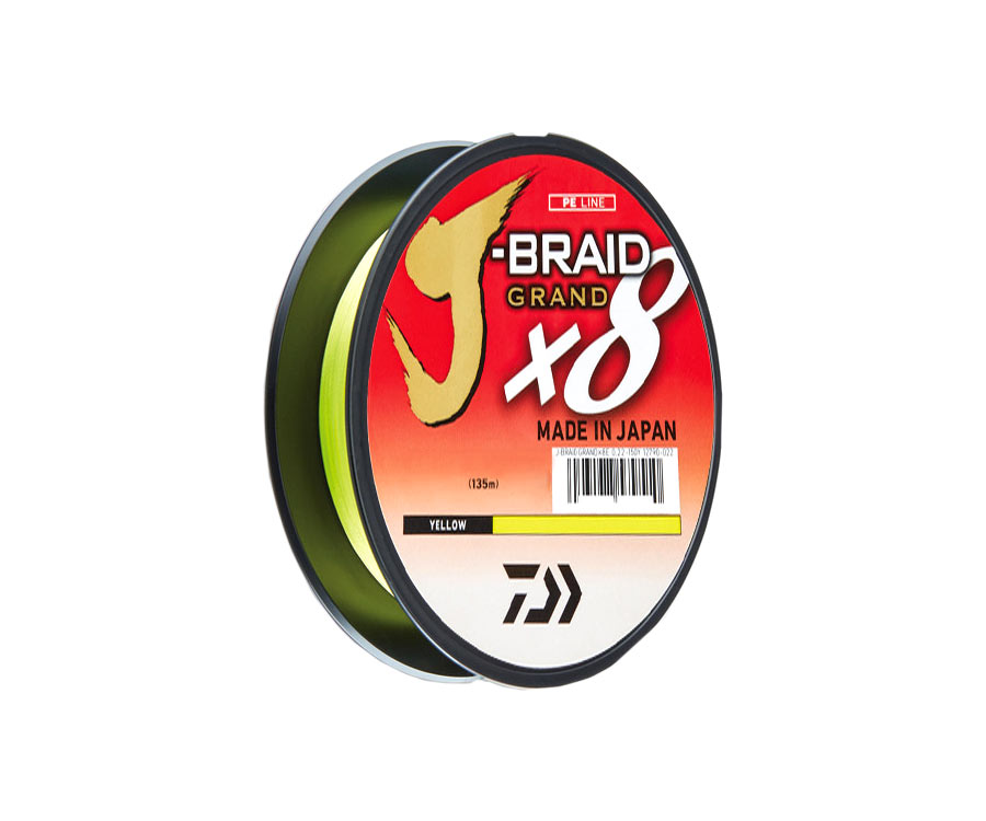 Шнур Daiwa Grand J-Braid x8 Yellow 135м 0.06мм