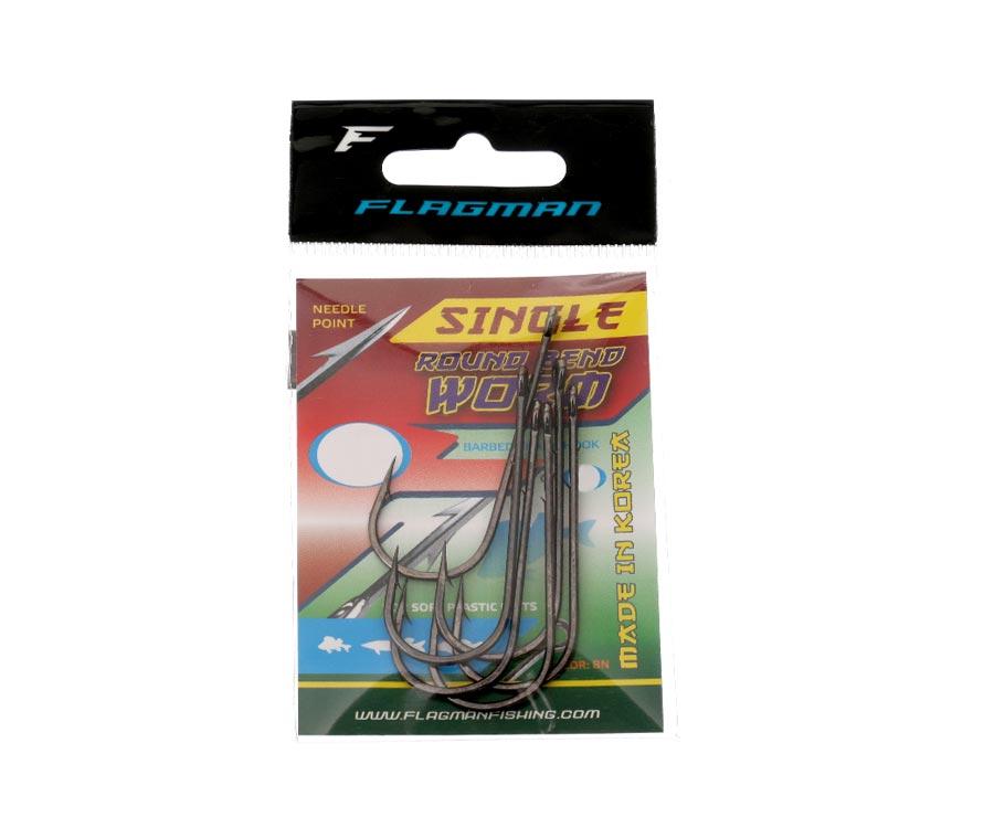 Крючки Flagman Single Round Bend Worm №3/0