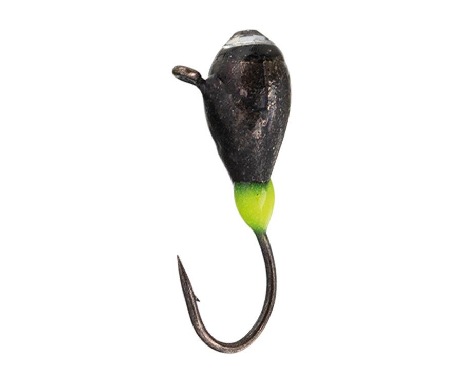 Мормышка вольфрамовая Flagman Крапля с ушком эребус камень + подмазка фосфор d=3 черный