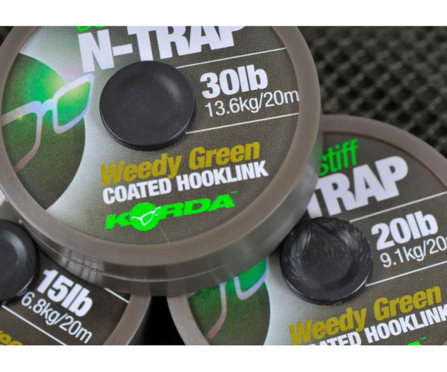 Поводковый материал Korda с покрыт. N-TRAP Semi-stiff 30 lb W.Grn