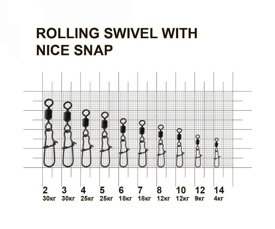 Вертлюг с застежкой MiniMax Rolling Swivel With Nice Snap #8
