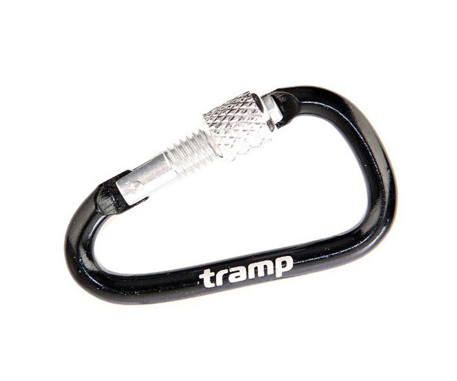 Карабин алюминиевый Tramp с муфтой, 5см, черный