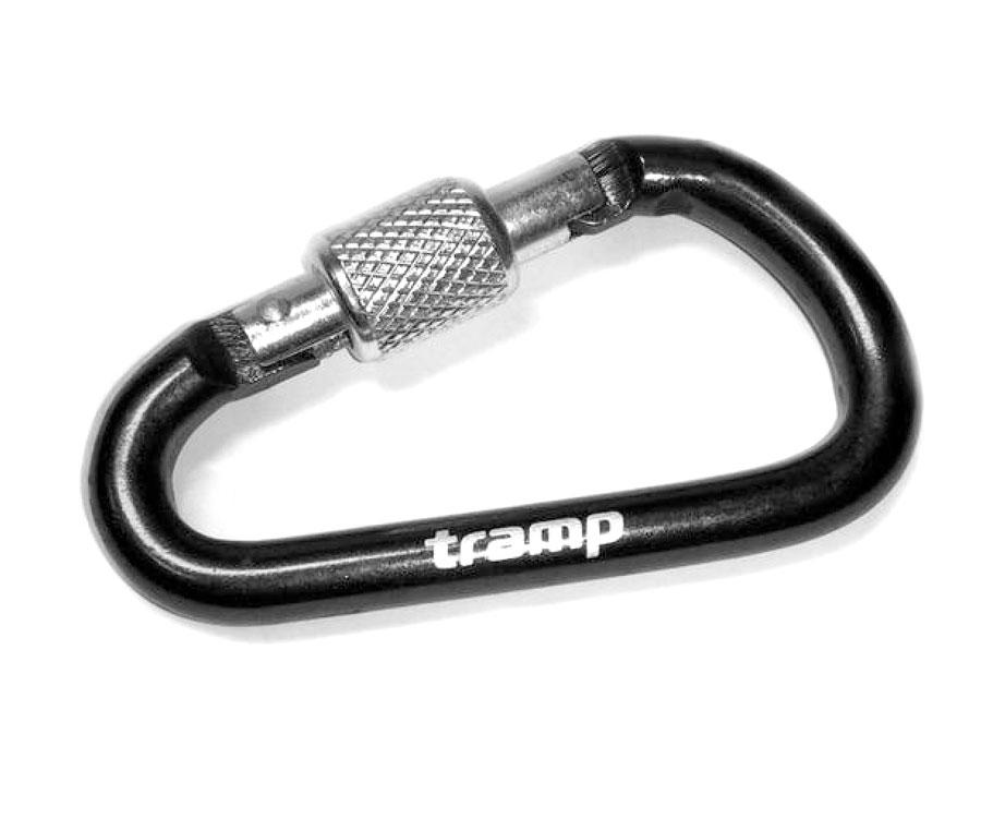 Карабин алюминиевый Tramp с муфтой, 6см, черный