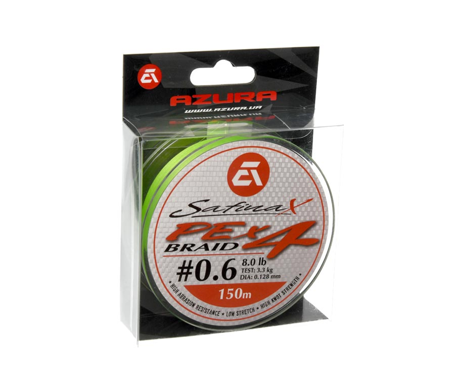 Шнур Azura Safina Braid PE X4 150м #0.6 0.128мм