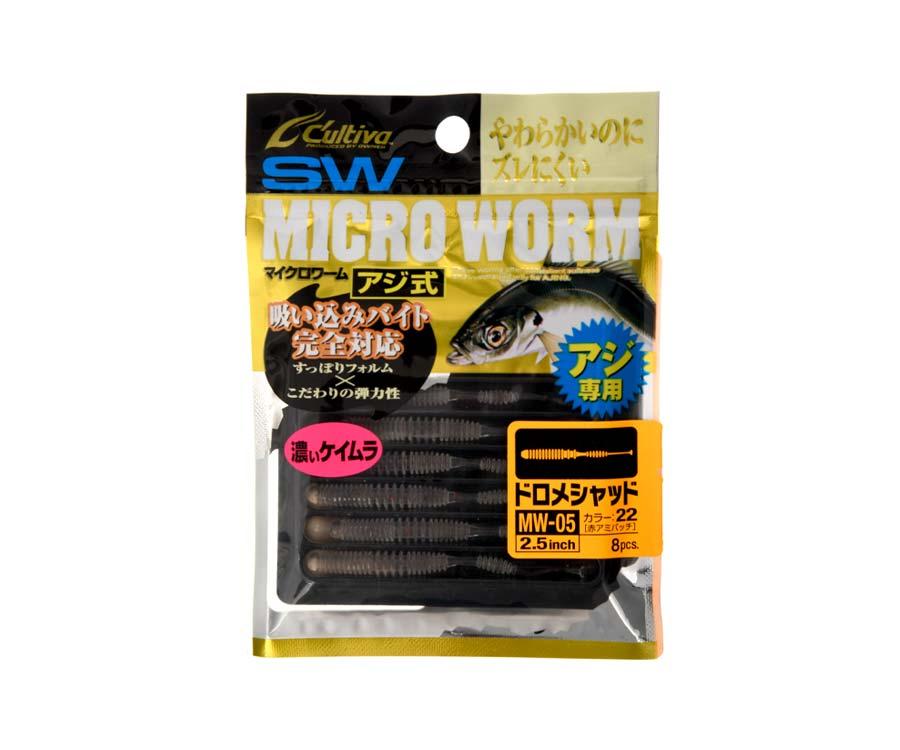 "Виброхвост Owner Micro Worm MW-05 82932 2.5"" 8шт. #22 Red Net Patch"